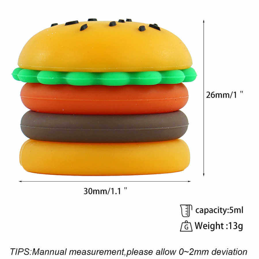 5ml silicone hamburger wax container bulk wholesale with size