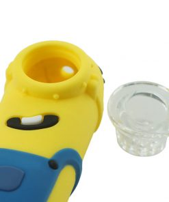 Minions Silicone pipe with glass bowl detail