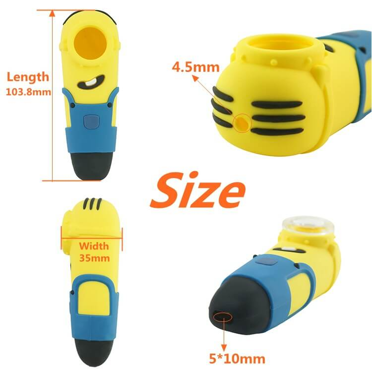 Minions Silicone pipe with glass bowl size guider