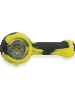 Silicone Hand pipe with glass bowl yellow and black color