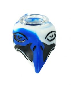 hawk design silicone pile with glass bowl blue color front